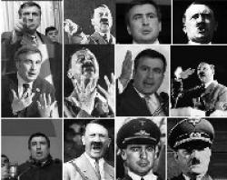 El presidente georgiano Mijeíl Saakashvili comparado con Hitler en la propaganda rusa durante la Guerra de Osetia del Sur en agosto de 2008.