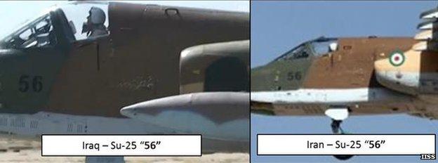 Comparación de uno de los Su-25 desplegados por Irán con una foto de archivo.