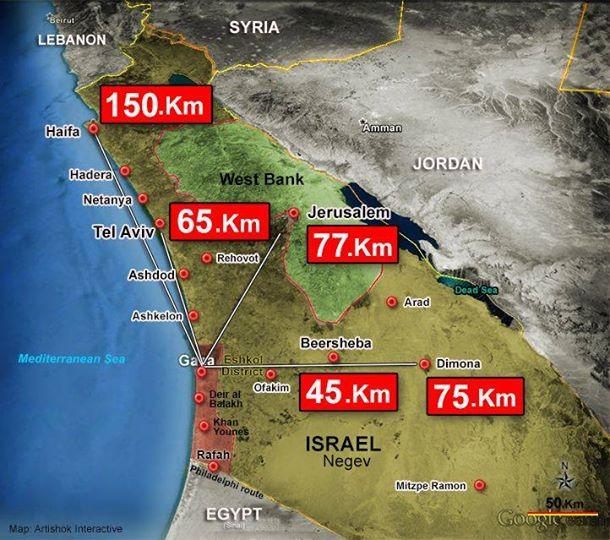 Distancias de las principales ciudades israelíes desde la Franja de Gaza