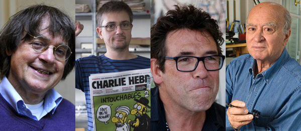 Cabu, Charb, Wolinski y Tignous