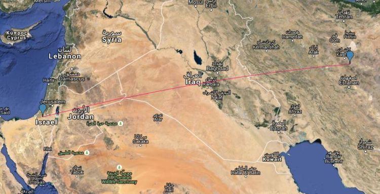 Ruta directa entra la base de Hatzerim y las instalaciones nucleares de Natanz