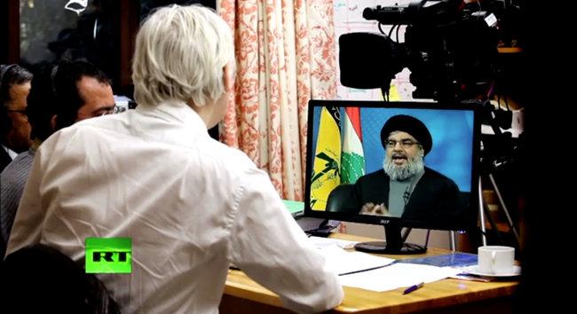 Julian Assange entrevistando al líder de Hezbolá en su primer programa en el canal Russia Today