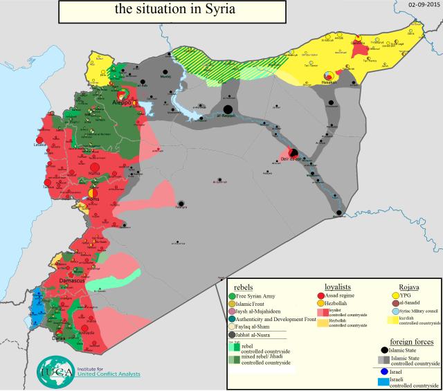 Situación en Siria al día 2 de septiembre. Elaborado por Thomas van Linge.