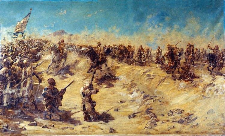 Carga del 21º de Lanceros en Ombdurmán. Entre ellos el teniente Winston Churchill.
