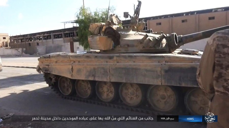 Carro de combate T-72 capturado en Palmira.